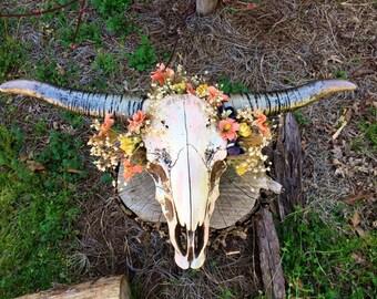 Spring wildflower, painted embellished steer skull, resin steer skull, cow skull, spring decor