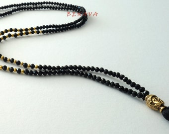 Necklace Pearl Necklace Buddha tassel black gold