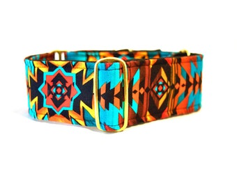 Tribal Print Martingale Collar: Brass Hardware