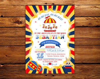 Carnival Birthday Invitation. Carnival Invitation. Birthday Any Ages. Boy Kids Birthday. Carnival Party. Circus Party. Printable Digial