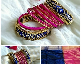 Silk Thread Jewelry ~ Blue,PINK & GOLD  - A set of 26 Handmade Silk Thread Woven Bangles ~ Ethnic Indian Accessory ~ Favor/Return Gifts