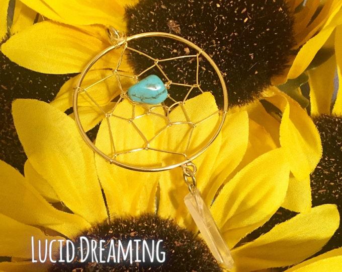 Lucid Dreaming~ Dream Catcher w/ Blue Jasper & Clear Quartz