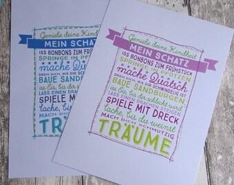 """Bild Druck """"Mein Schatz"""" für Kinderzimmer von Frollein KarLa"""