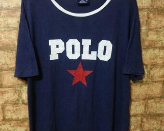 RARE 90's Vintage Polo Sport Ralph Lauren Shirt Big Logo POLO T-Shirt Usa Size M