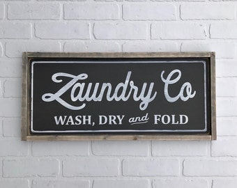 "LAUNDRY CO SIGN Wash, Dry and Fold | 11.75""x25.5"" 