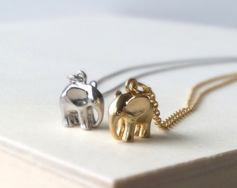 Matte Silver Elephant Charm Necklace, Matte gold elephant charm necklace, elephant pendant, elephant necklace, gift ideas for Mom