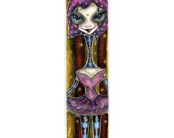 Original Hand Painted Creepy Carnival Girl Bookmark