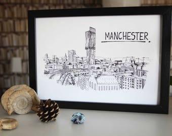 Manchester A4 Print // Manchester Skyline // Manchester Illustration // Manchester Art // Black and White Print // Manchester Wallart