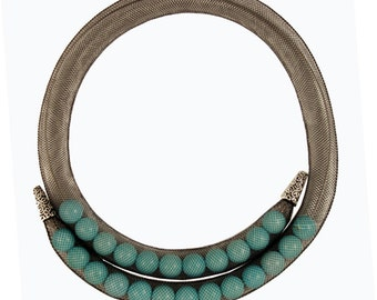 Black Mesh necklace with turquoise.