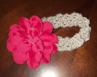 Baby Headband Gray and Pink