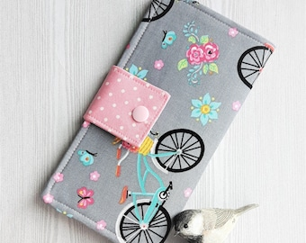Bikes and butterflies Womens Wallet, Slim Bifold Fabric wallet, Womans handmade wallet, credit card wallet, checkbook wallet, gift idea