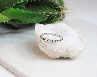 Sterling Silver | Stacking Ring | Minimal | Rustic | Delicate | Thin | Boho | Hammered | Gift For Her