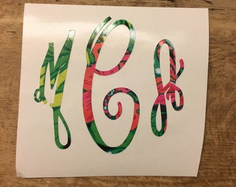 Printed Vinyl Monogram Decal - Fancy Font