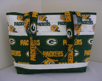 Green Bay Packer Quilted Tote Bag, lrg