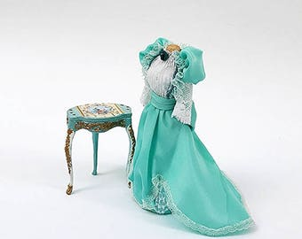 Miniature Turquoise Victorian Gown on Mannequin
