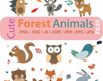 Cute Forest Animals clipart, Woodland wild, vector files in Svg, Ai, Eps, Pdf, Png, for cutting programs, for commercial or personal use,