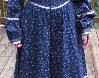 Gunne Sax Dress, Blue Calico and Swiss Dots Gunne Sax Boho Peasant Style Midi Prairie Dress, Size S/ XS