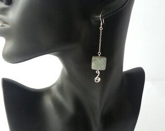 Semi-precious Stone Labradorite Faceted Square Beads Drop Dangle Earrings with 925 sterling silver jmusic notes connector/ Drop earrings