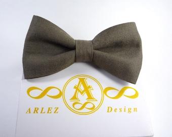 Black Avocado Green Linen Bow Tie, Men's Linen Bow Tie, groomsmen bow tie, Green bow tie, bow tie for baby, Green boy's bow tie.