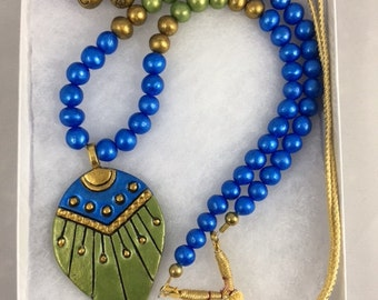 Terracotta Necklace set with earning - Blue and light green