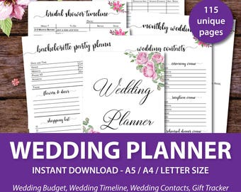 Wedding Planner Printable, Wedding Binder Printables, Wedding Planner Book, Wedding Organizer Book, Wedding Planner Notebook, Journal