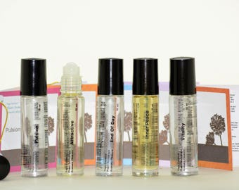 NATURAL MOOD perfume combo-composed with essential oil and vegetal oil-roll-on bottle-aromatherapy-mood perfume-pure and natural