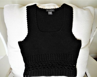 Vintage Banana Republic Black Crochet Sleeveless Sweater - Size XS