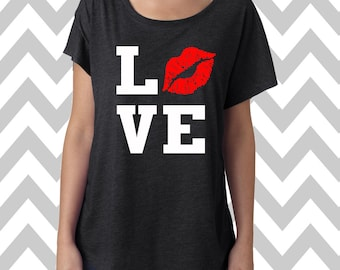 Love With Lips Kiss Valentine's Day Tee Dolman Off the shoulder flowy tee Valentine's Day T-Shirt Happy Valentine's Day Sexy Shirt Love Tee