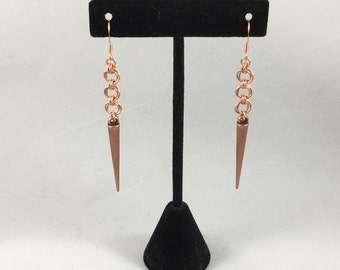 Copper Chainmaille Spike Earrings