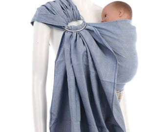 Ring Sling - Blue-White Ring Sling by babywrap.com.my - Woven Baby Wrap - Ring Sling Baby Carrier
