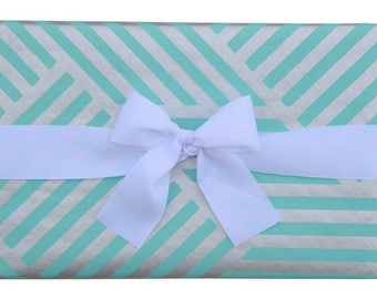 Gift Wrap Geometric ZigZag Teal and Silver