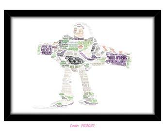 personalised buzz lightyear word art print gift idea birthday present wall art home print toy story