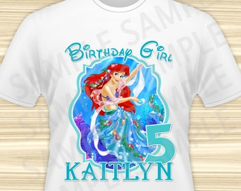 Mermaid Ariel Iron On Transfer. Little Mermaid Iron On Transfer. Diy Mermaid Ariel Birthday Shirt. DIGITAL FILE.