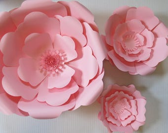 """Set of 3 Giant Paper Flowers, Pink Roses, 6-16"""" Blooms, Wedding Backdrop, Nursery Wall Decor, Bridal Shower Decorations, Popular Event Decor"""