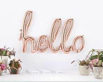 Hello script balloon in rose gold - Fun party decor. Ready to hang