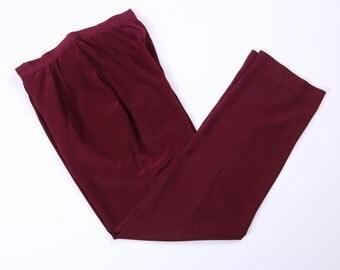 High Waist Red Silk Trousers