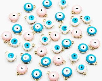 Evil Eye Charm Gold Plated Set 6 pcs (13 mm x 10 mm) Sky Blue/White/Pink