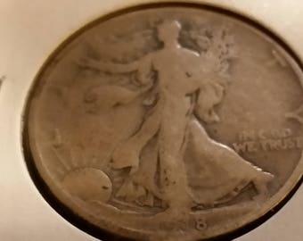 1918-D Walking liberty half dollar.  M4-282