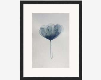Watercolour flower, blue abstract flower ,blue wall art