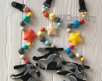 Silicone Helicopter Teether with a pacifier clip
