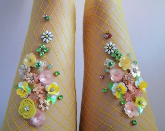 Lemon Blossom Fishnet Tights