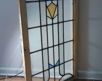 Antique Vintage Art Deco Stained Glass Window Panel