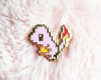 8bit Charmandar Enamel Pin - Baby Pink Hard Enamel - Gold - Pixel Art