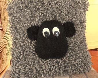Sheep Cushion Hand Made in Grey Aran