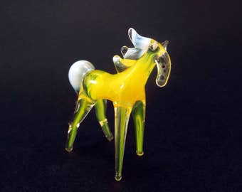 Yellow Glass horse figurine horse animals glass miniature horse art glass yellow horse toy murano horse animals tiny small horse figure gift