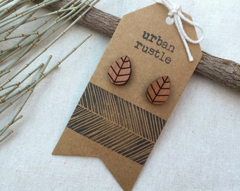 Au Naturel leaf wooden stud earrings - leaf studs - wooden earrings - wooden jewelry - wooden jewellery - leave jewelry - wooden studs