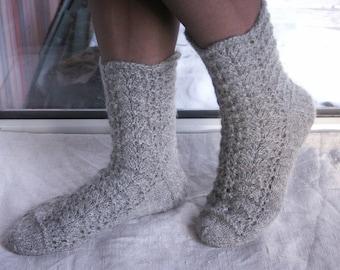 Grey alpaca-wool lace socks, handknitted grey women's bed socks, boot socks, leg warmers
