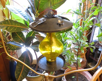 Vintage yellow glass & metal bird feeder w/ butterflies and flowers bird food feeder w/free ship