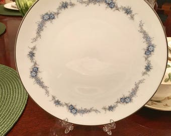 Noritake Barcarolle large salad plate 8.5 inches in dismeter! Trimmed edge in stunning silver!