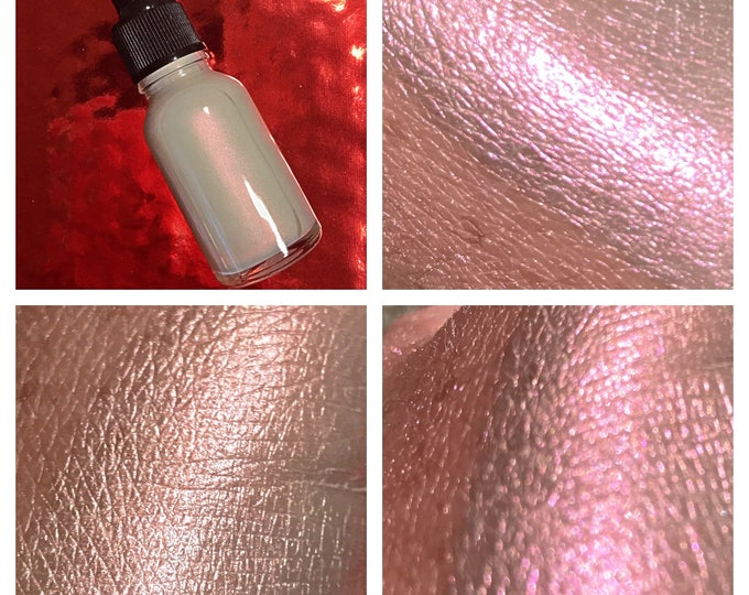 INVISIBLE SUNSET - Iridescent SkinLite - Liquid Highlighter Drops / Illuminator- Red / Copper / Orange / Pink polychrome